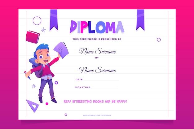 Crianças escola diploma criança feliz com livro Vetor grátis