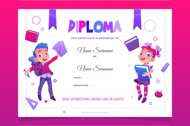 Crianças escola diploma crianças felizes com livros Vetor grátis