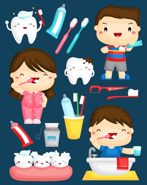 Crianças escovando o conjunto de vetores de dentes Vetor Premium