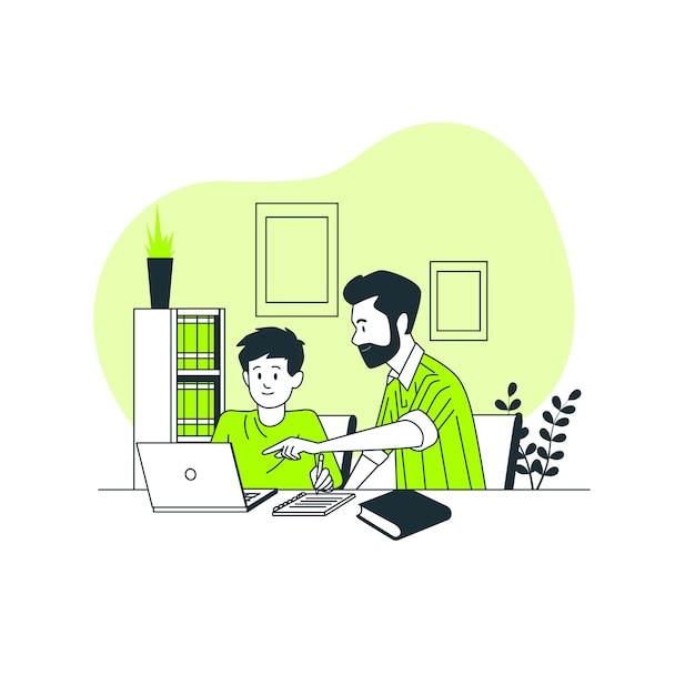 Crianças estudando em casa conceito ilustração Vetor grátis