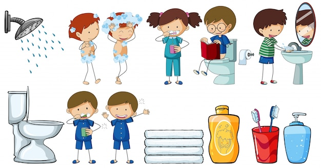 Crianças fazendo diferentes atividades de rotina Vetor grátis