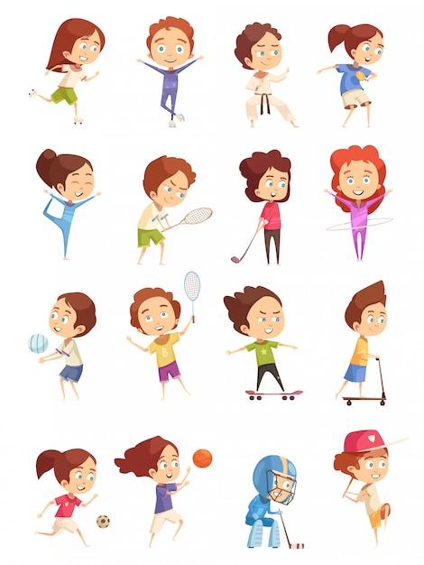 Crianças fazendo esportes conjunto Vetor grátis