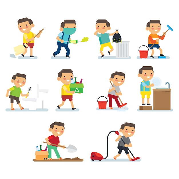 Crianças fazendo série de trabalhos domésticos. crianças fazendo hábitos saudáveis e atividades de higiene na série de cartazes da casa. Vetor Premium