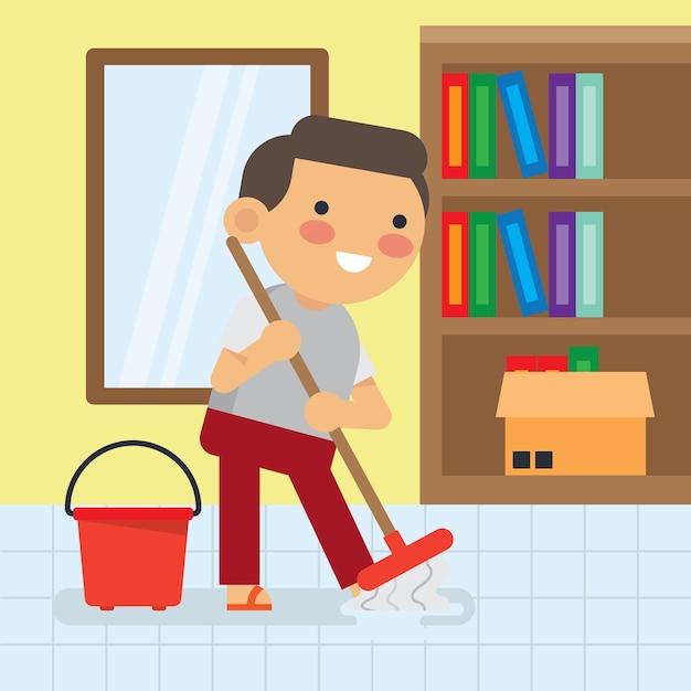 Crianças fazendo série de trabalhos domésticos. Vetor Premium