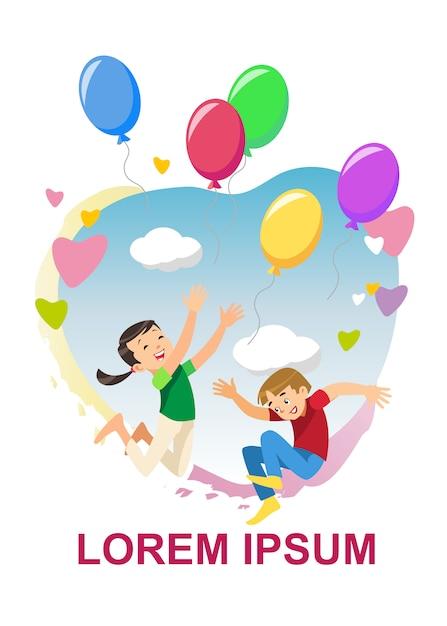 Crianças felizes alegram o conceito de vetor de desenhos animados de férias Vetor grátis