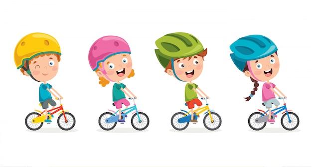 Crianças felizes andando de bicicleta conjunto Vetor Premium