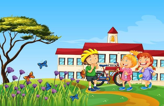 Crianças felizes brincando na natureza ao ar livre Vetor Premium