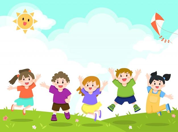 Crianças felizes brincando, pulando fundo Vetor Premium