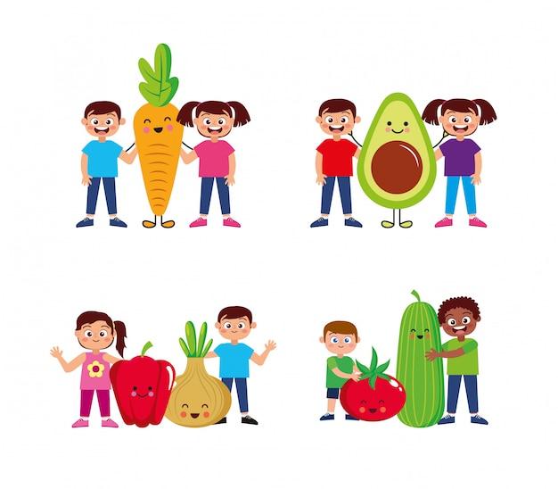 Crianças felizes com desenho de legumes Vetor Premium