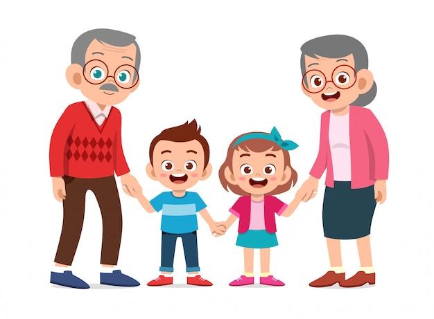 Crianças felizes com os avós Vetor Premium