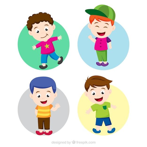 Crianças felizes com roupas coloridas Vetor grátis