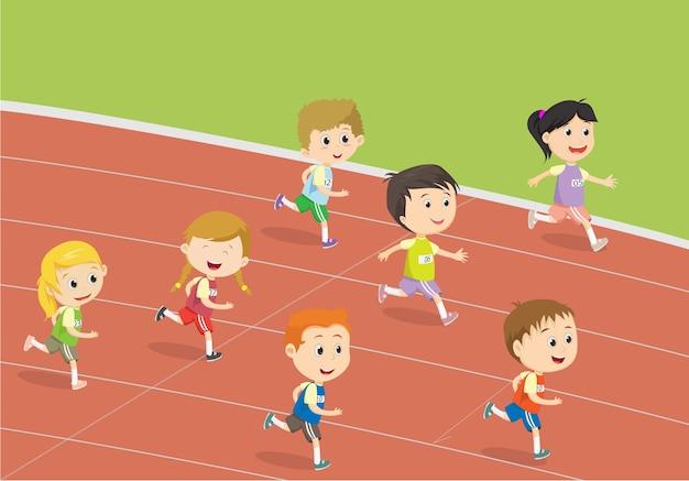 Crianças felizes correndo na pista do estádio Vetor Premium