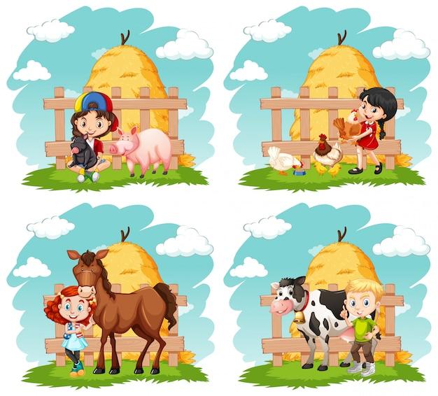 Crianças felizes e animais de fazenda na fazenda Vetor grátis