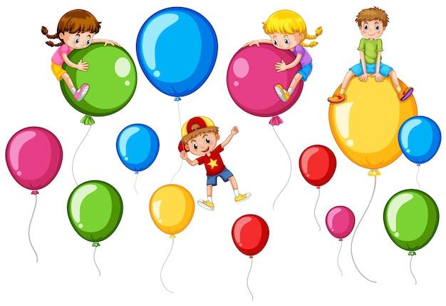 Crianças felizes e balões coloridos Vetor grátis