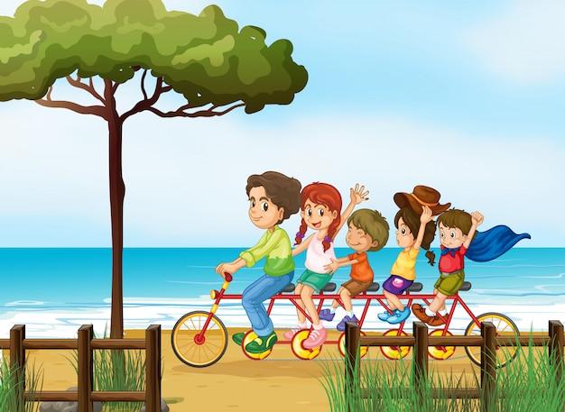 Crianças felizes e bicicleta Vetor grátis