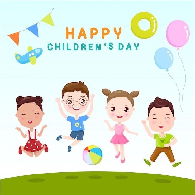 Crianças felizes é dia Vetor Premium