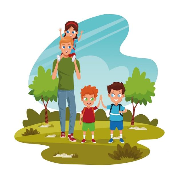 Crianças felizes e homem no parque Vetor Premium