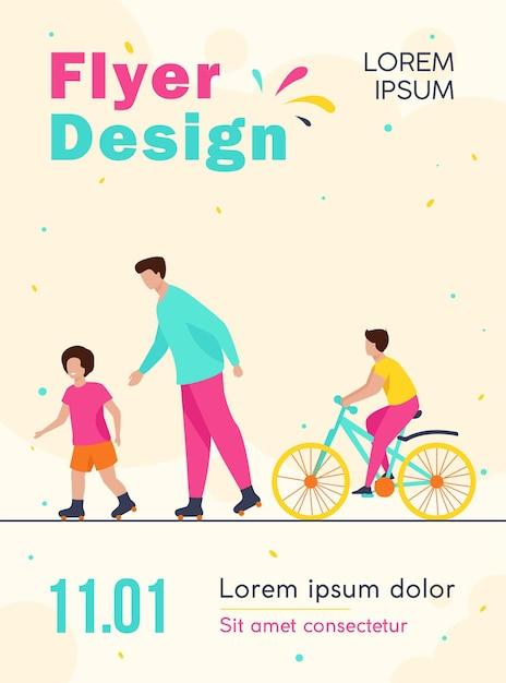 Crianças felizes e homem rolando e andando de bicicleta modelo de folheto Vetor grátis