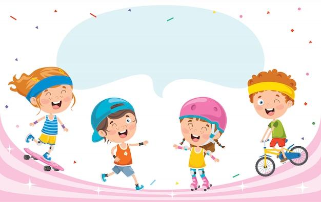 Crianças felizes fazendo esporte Vetor Premium