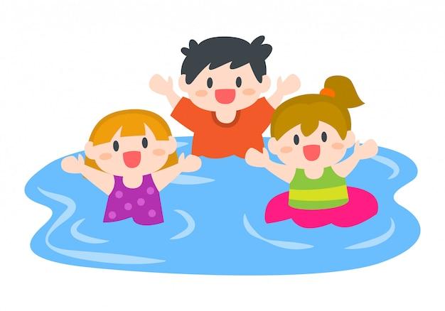 Crianças felizes, meninos e meninas nadando na praia ou piscina Vetor Premium