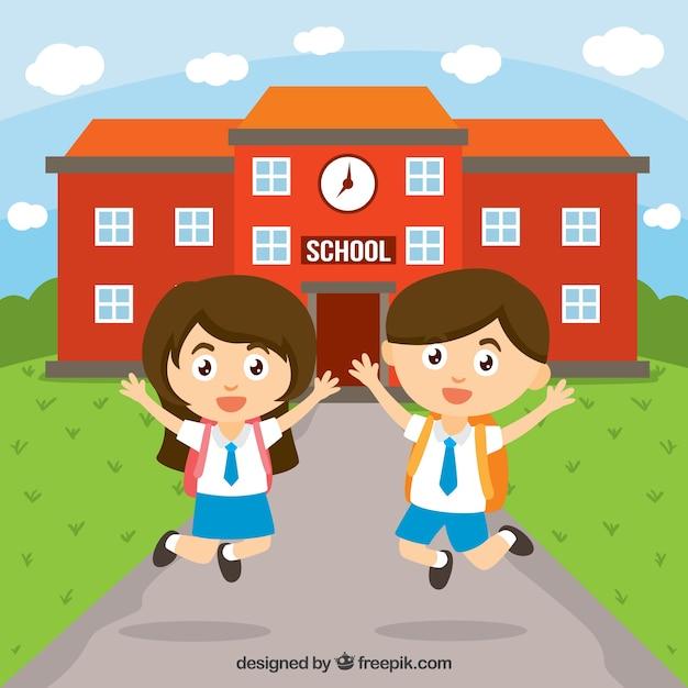 Crianças felizes na escola Vetor grátis