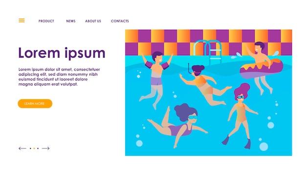 Crianças felizes nadando na piscina. crianças em trajes de banho desfrutando de banho de água, mergulho, flutuação com aro inflável. pode ser usado para aulas de natação, férias, atividades de verão com o conceito de amigos Vetor grátis