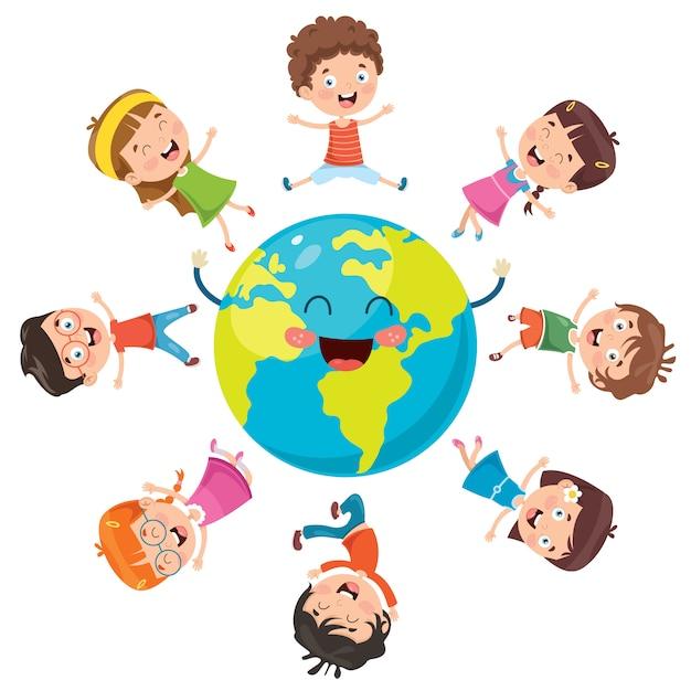 Crianças felizes posando na terra Vetor Premium