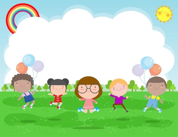 Crianças felizes pulando e dançando no parque, atividades infantis, crianças brincando no playground, modelo para folheto publicitário, seu texto, plano personagem de desenho animado, design ilustração Vetor Premium