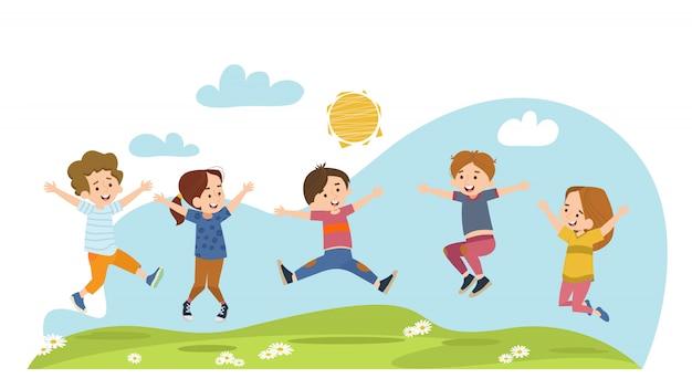 Crianças felizes pulando no prado de verão Vetor grátis