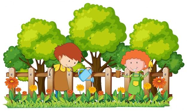 Crianças felizes regando plantas no jardim Vetor grátis