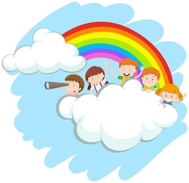 Crianças felizes sobre a ilustração do arco-íris Vetor grátis