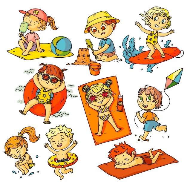 Crianças férias de verão. conjunto de atividades de praia de crianças. pessoas felizes crianças nadando no oceano, banhos de sol, surf, construção de castelo de areia, coleção de pipas. atividades de férias de verão na infância Vetor Premium