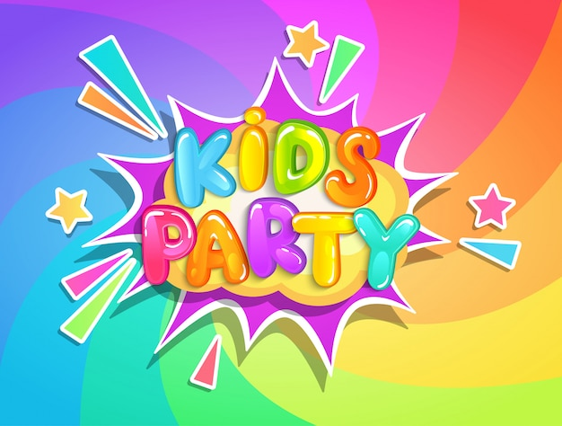 Crianças festa banner no fundo do arco-íris. Vetor Premium