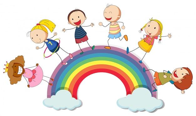 Crianças, ficar, arco íris Vetor grátis