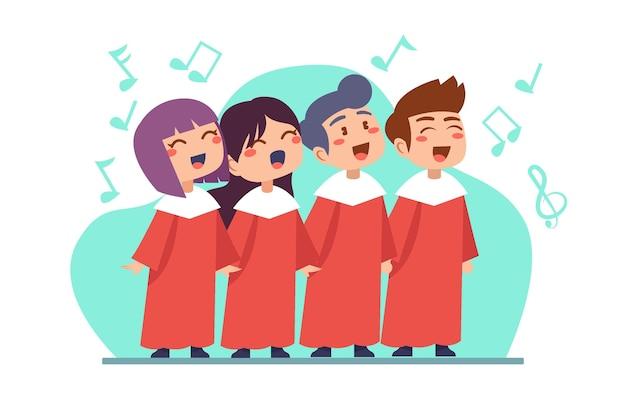 Crianças fofas cantando em uma ilustração de coro Vetor grátis