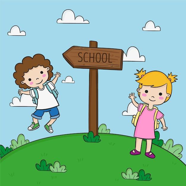 Crianças fofas e placa de direção da escola Vetor grátis