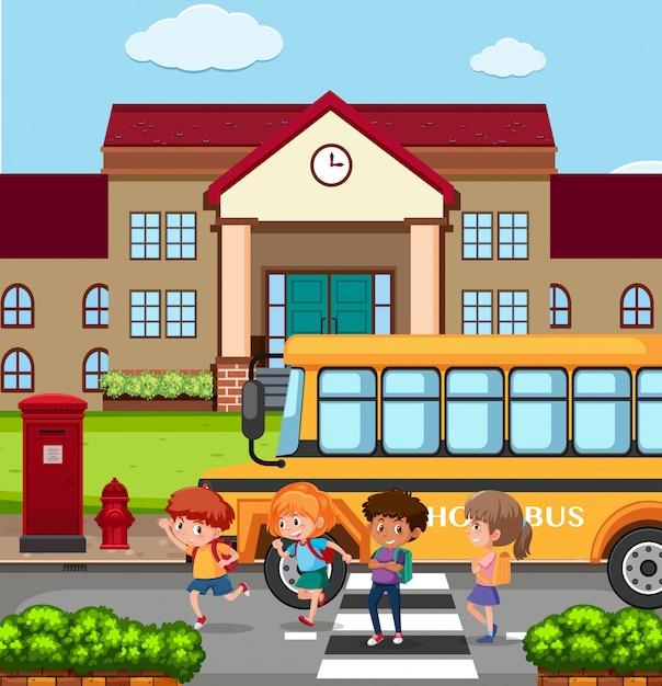 Crianças fora de uma escola Vetor Premium