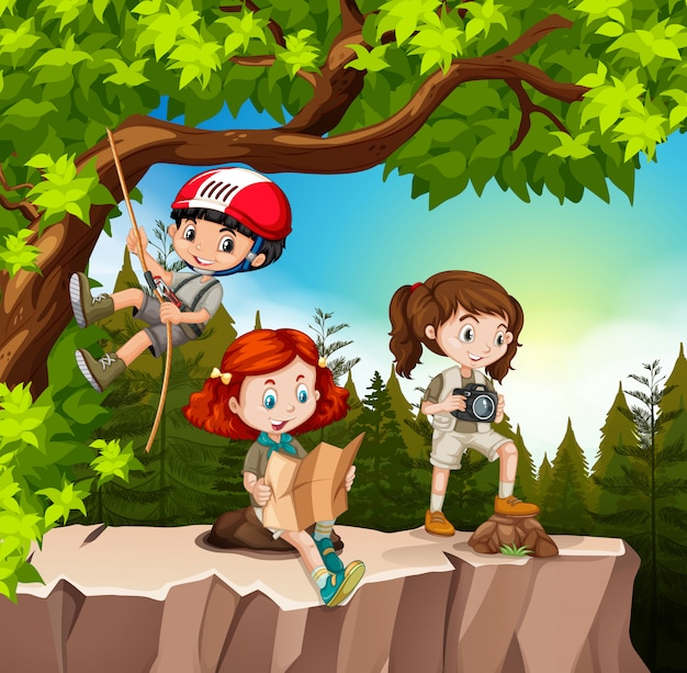 Crianças, hiking, cima, a, montanha Vetor grátis