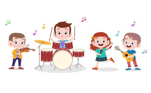Crianças ilustração de música Vetor Premium