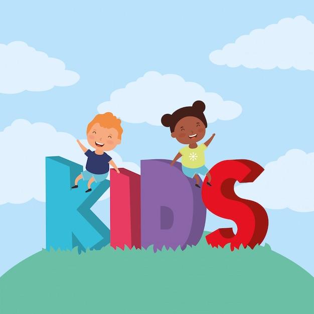 Crianças inter-raciais com crianças zona letras no campo Vetor Premium