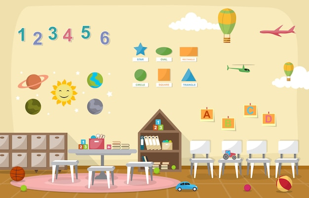 Crianças interiores das crianças das crianças da sala de aula do jardim de infância brinca a mobília Vetor Premium