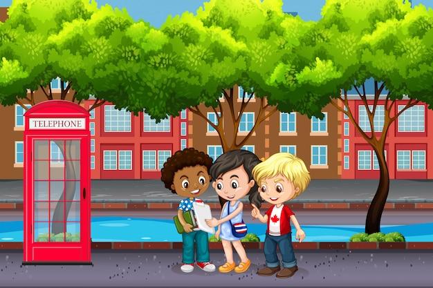Crianças internacionais na cidade Vetor Premium