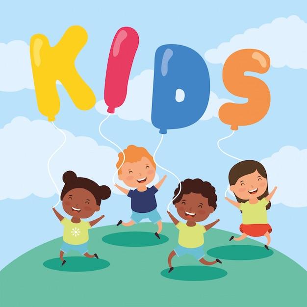 Crianças interraciais com crianças zona balões hélio Vetor Premium