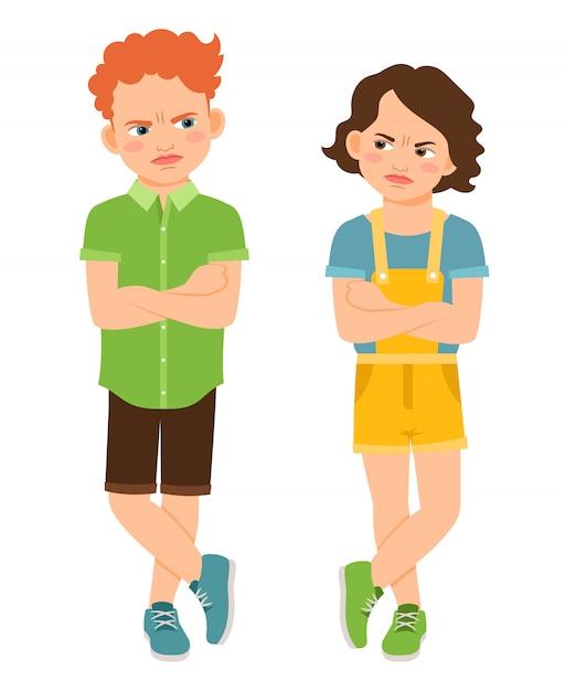 Crianças irritadas com as mãos cruzadas isoladas. carranca triste menino e dura garota ilustração vetorial Vetor Premium
