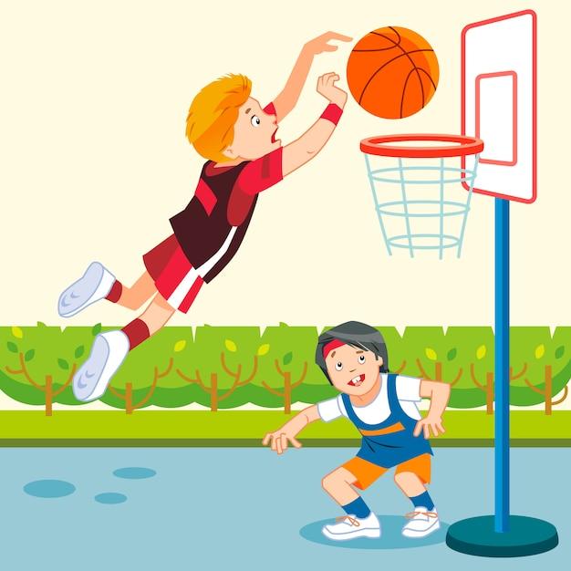 Crianças jogando basquete em um playground Vetor Premium
