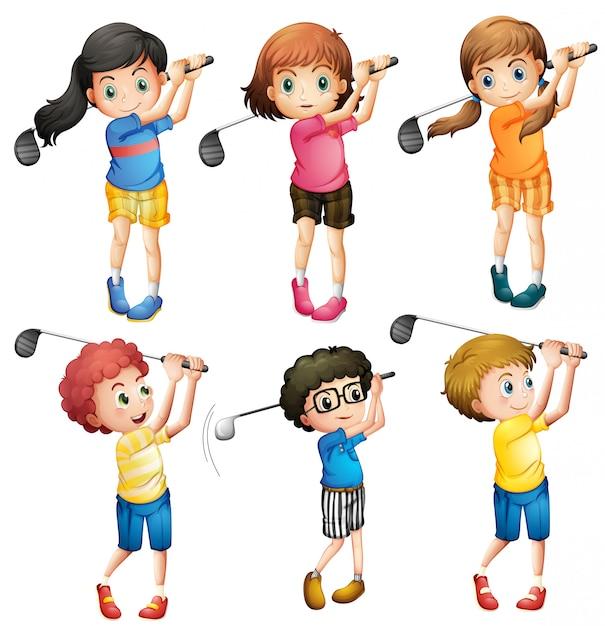 Crianças jogando golfe Vetor Premium