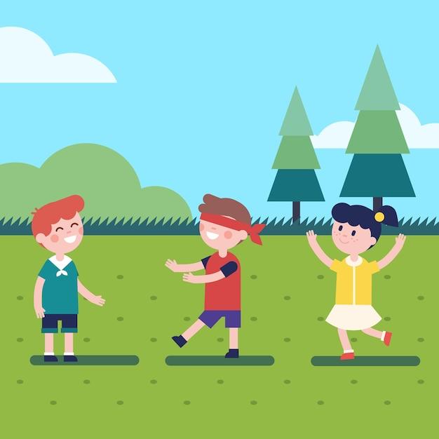 Crianças jogando jogo de blindfold ao ar livre Vetor grátis