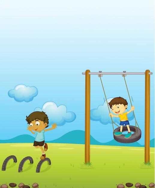 Crianças jogando swing Vetor grátis