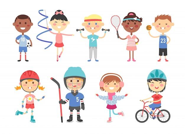 Crianças jogando vários jogos de esportes como nos hóquei, futebol, ginástica, fitness, tênis, basquete, patinação, bicicleta vector plana. Vetor Premium