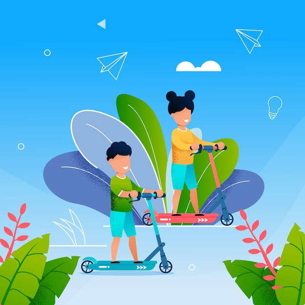 Crianças jovens andam de scooter no parque Vetor Premium